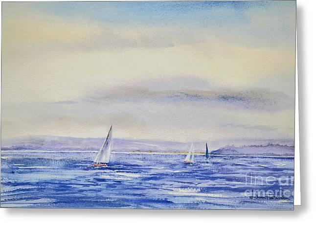 Evening Sail On Little Narragansett Bay Greeting Card by Joan Hartenstein
