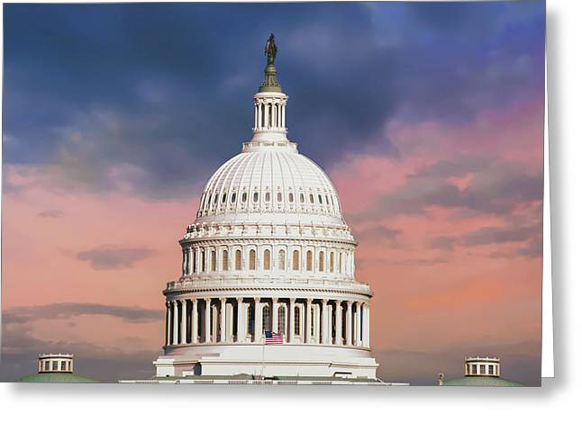 Evening Skies Over Congress - United States Capitol Building - Washington D.c. Greeting Card