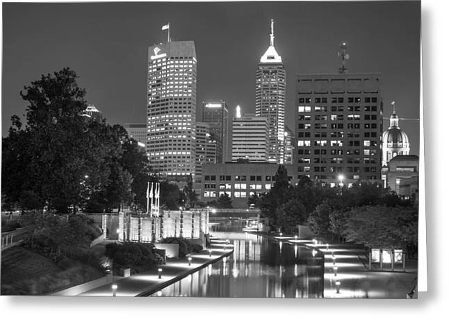 Evening Skyline Of Indianapolis Indiana Greeting Card by Gregory Ballos