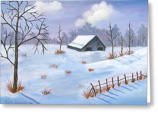 Ruth Housley Greeting Cards - Evening Snow Scene SOLD Greeting Card by Ruth  Housley
