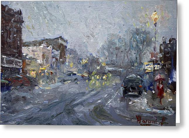 Evening Snowfall At Webster St Greeting Card by Ylli Haruni