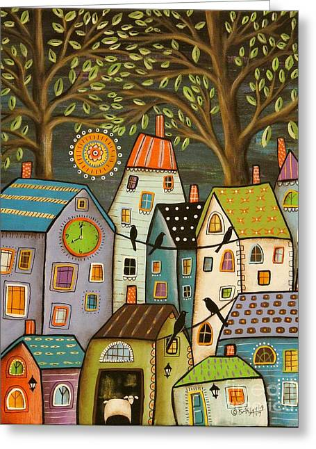 Evening Song Greeting Card by Karla Gerard