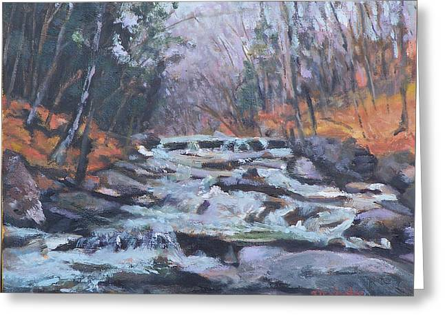 Evening Spillway Greeting Card by Alicia Drakiotes