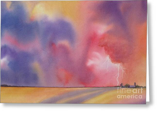 Deb Ronglien Watercolor Greeting Cards - Evening Storm Greeting Card by Deborah Ronglien