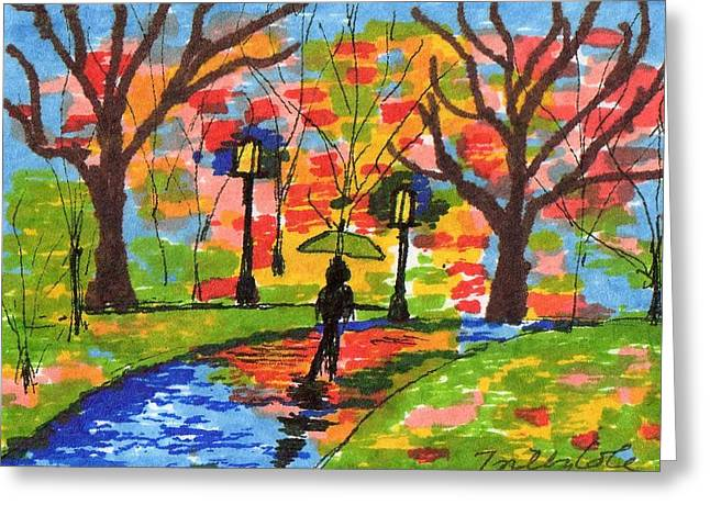 Greeting Card featuring the painting Evening Stroll In The Rain by Trilby Cole