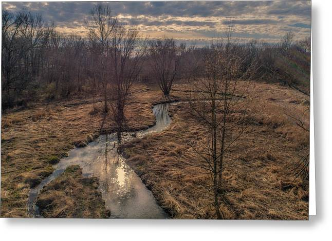 Evening Sun On The Creek Greeting Card