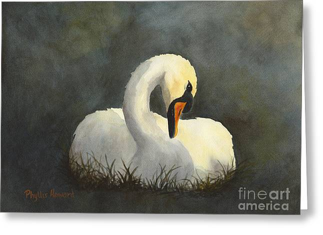Evening Swan Greeting Card