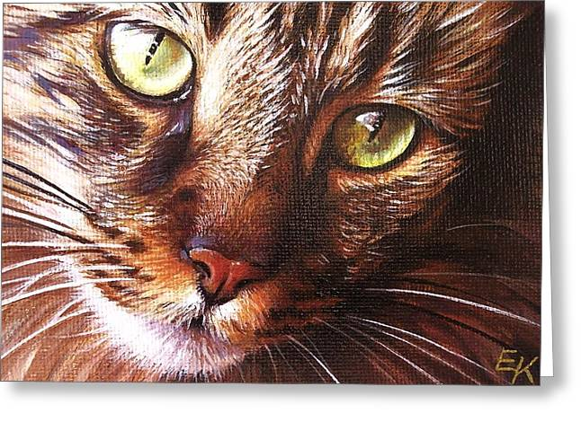 Evening Tabby Greeting Card by Elena Kolotusha