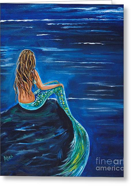Evening Tide Mermaid Greeting Card by Leslie Allen