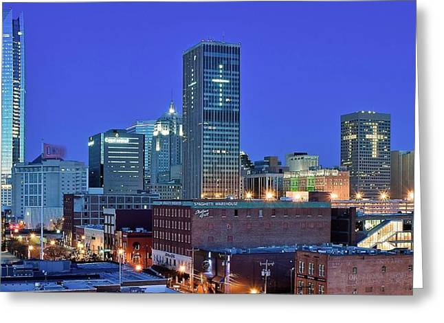 Evening Time In Okc Greeting Card by Frozen in Time Fine Art Photography