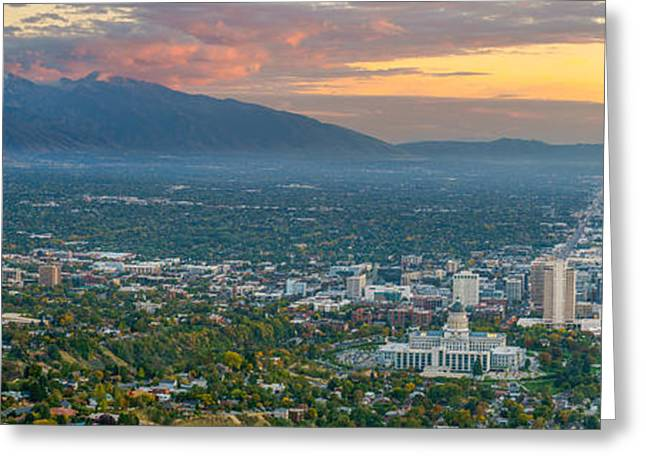 Evening View Of Salt Lake City From Ensign Peak Greeting Card