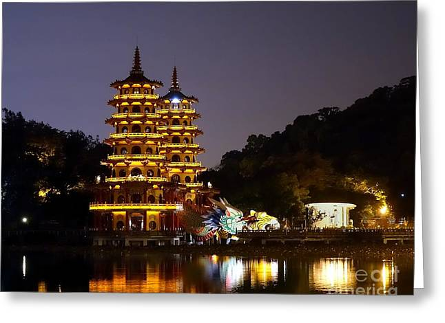Evening View Of The Dragon And Tiger Pagodas In Taiwan Greeting Card