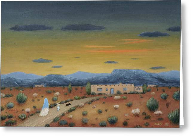 Evening Visitors Greeting Card by Gordon Beck