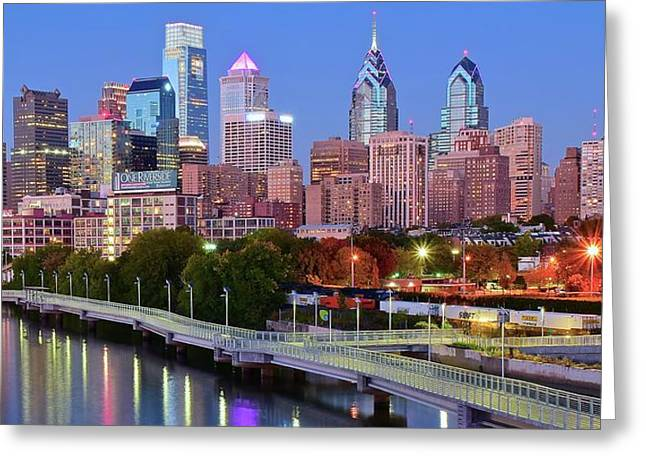 Evening Walk In Philly Greeting Card by Frozen in Time Fine Art Photography