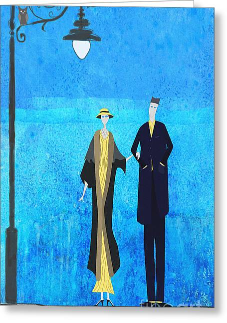Evening Walk Greeting Card by J Ripley Fagence