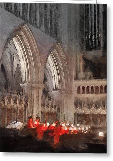 Evensong Practice At Wells Cathedral Greeting Card