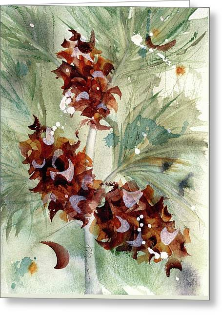 Greeting Card featuring the painting Evergreen Branch by Dawn Derman
