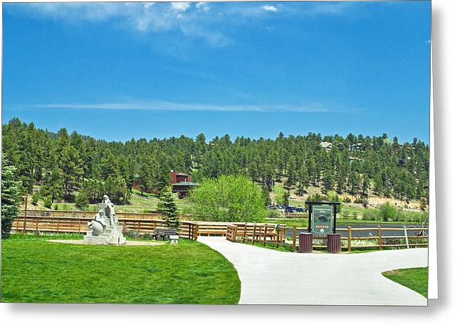 Evergreen Lake Greeting Card by Richard Risely