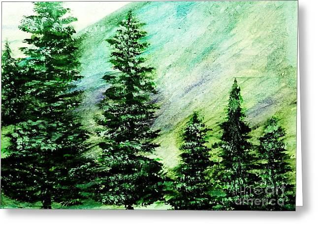 Evergreen Mountain Greeting Card by Scott D Van Osdol
