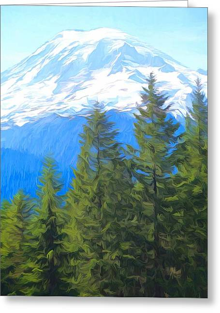 Evergreens And Mount Rainier Greeting Card by Dan Sproul