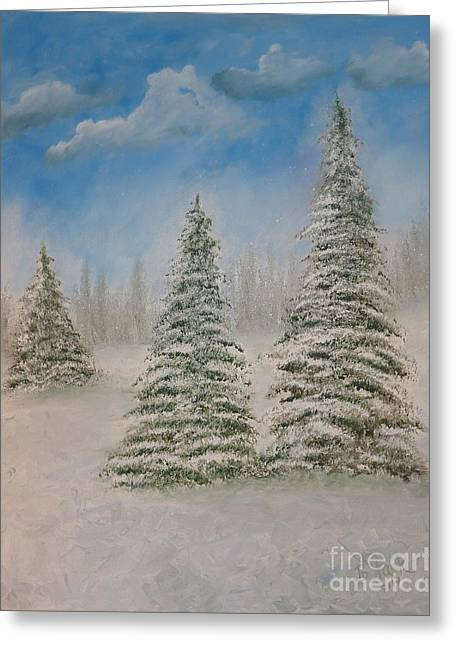 Evergreens In Snow  Greeting Card