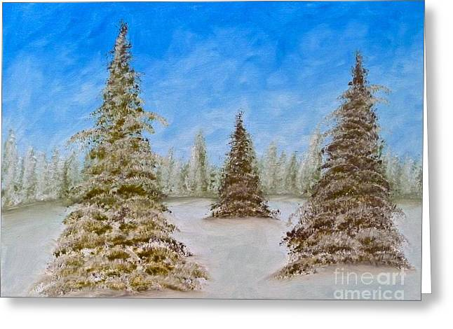 Evergreens In Snowy Field Enhanced Colors Greeting Card