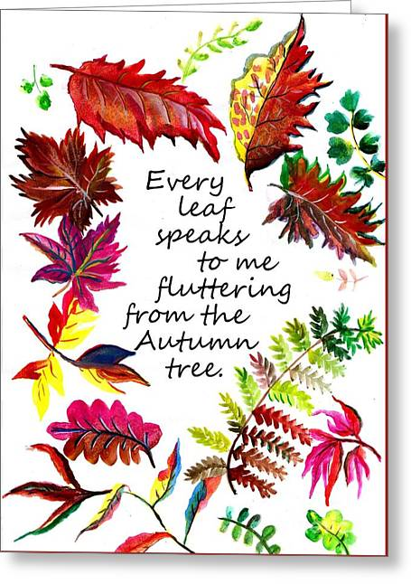 Every Leaf Speaks To Me Fluttering From A Autumn Tree Greeting Card by Sweeping Girl