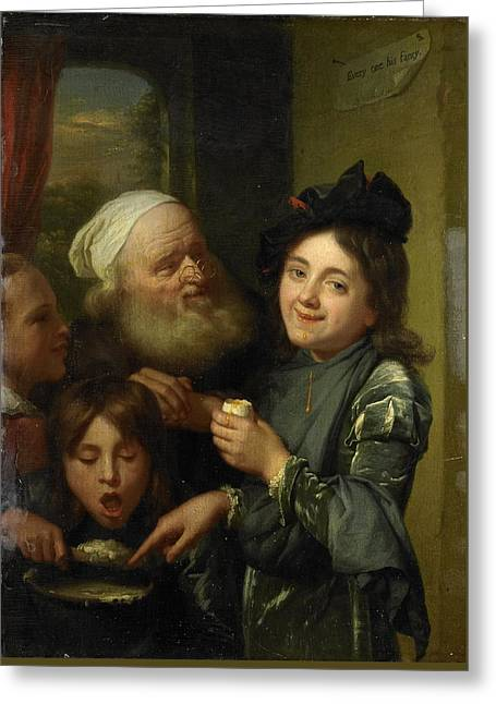 Every One His Fancy Greeting Card by Godfried Schalcken
