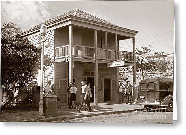 Everyone Says Hi - From Pepes Cafe Key West Florida Greeting Card by John Stephens