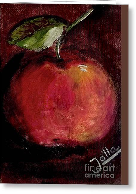 Greeting Card featuring the painting Eve's Apple.. by Jolanta Anna Karolska