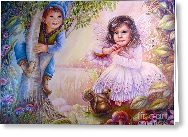 Evie And Luke Greeting Card by Patricia Schneider Mitchell