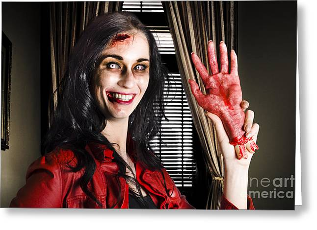 Evil Business Person Waving Hello With Sliced Hand Greeting Card by Jorgo Photography - Wall Art Gallery
