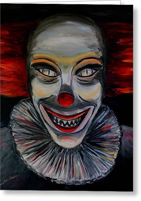 Cemetary Paintings Greeting Cards - Evil Clown Greeting Card by Daniel W Green