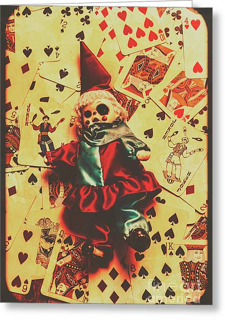 Evil Clown Doll On Playing Cards Greeting Card by Jorgo Photography - Wall Art Gallery