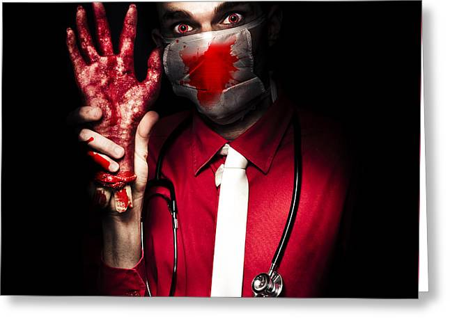 Evil Dark Medical Surgeon Waving Amputated Hand Greeting Card by Jorgo Photography - Wall Art Gallery