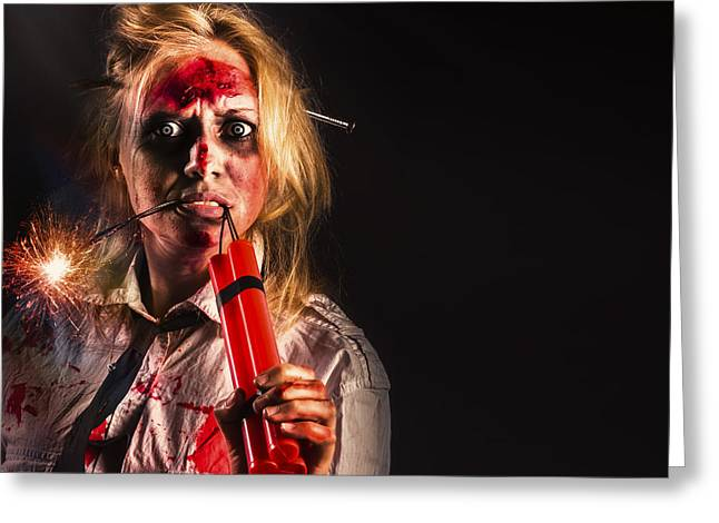 Evil Female Halloween Zombie Holding Bomb Greeting Card by Jorgo Photography - Wall Art Gallery