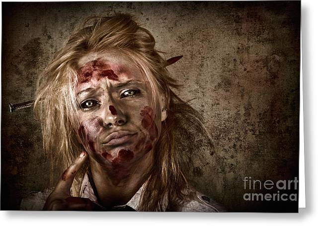 Evil Grunge Zombie Business Woman Thinking Idea Greeting Card