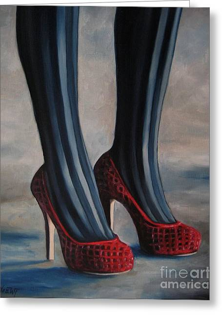 Evil Shoes Greeting Card by Jindra Noewi