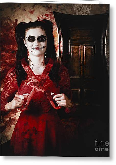 Evil Skeleton Girl With Blood Stained Scissors Greeting Card by Jorgo Photography - Wall Art Gallery