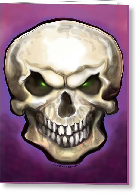 Greeting Card featuring the painting Evil Skull by Kevin Middleton