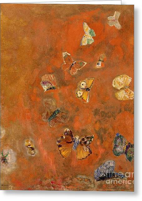 Red Wings Greeting Cards - Evocation of Butterflies Greeting Card by Odilon Redon