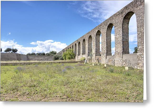 Evora Aqueduct Greeting Card by Andre Goncalves