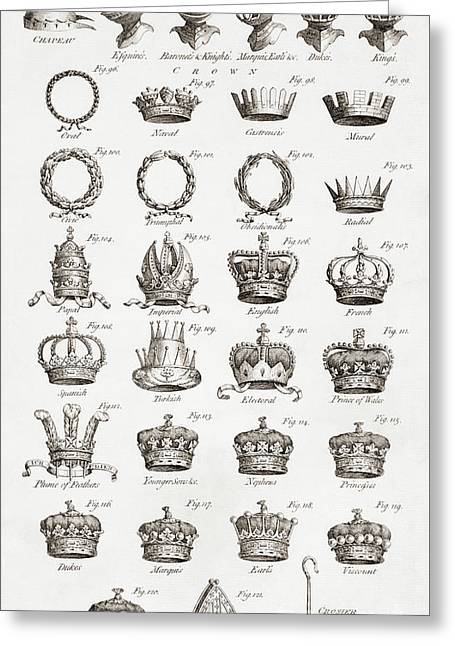 Examples Of Crowns, Coronets And Helmets Greeting Card