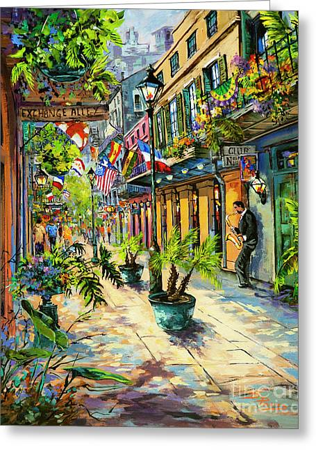 Exchange Alley Greeting Card by Dianne Parks