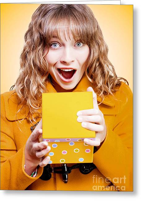 Excited Birthday Girl Opening Surprise Gift Greeting Card by Jorgo Photography - Wall Art Gallery