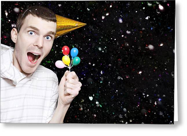 Excited Boy In Confetti Celebrating Birthday Party Greeting Card by Jorgo Photography - Wall Art Gallery