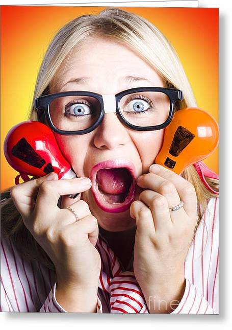 Excited Nerd Girl With Ideas To Innovate Greeting Card by Jorgo Photography - Wall Art Gallery