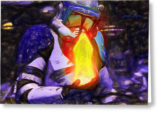 Execute Order 66 Blue Team Commander  - Texturized Style -  - Da Greeting Card