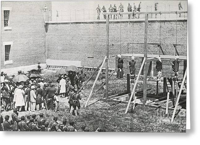 Execution Of The Booth Conspirators Greeting Card by Photo Researchers
