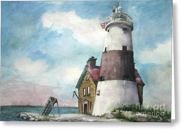 Greeting Card featuring the painting Execution Rocks Lighthouse by Susan Herbst